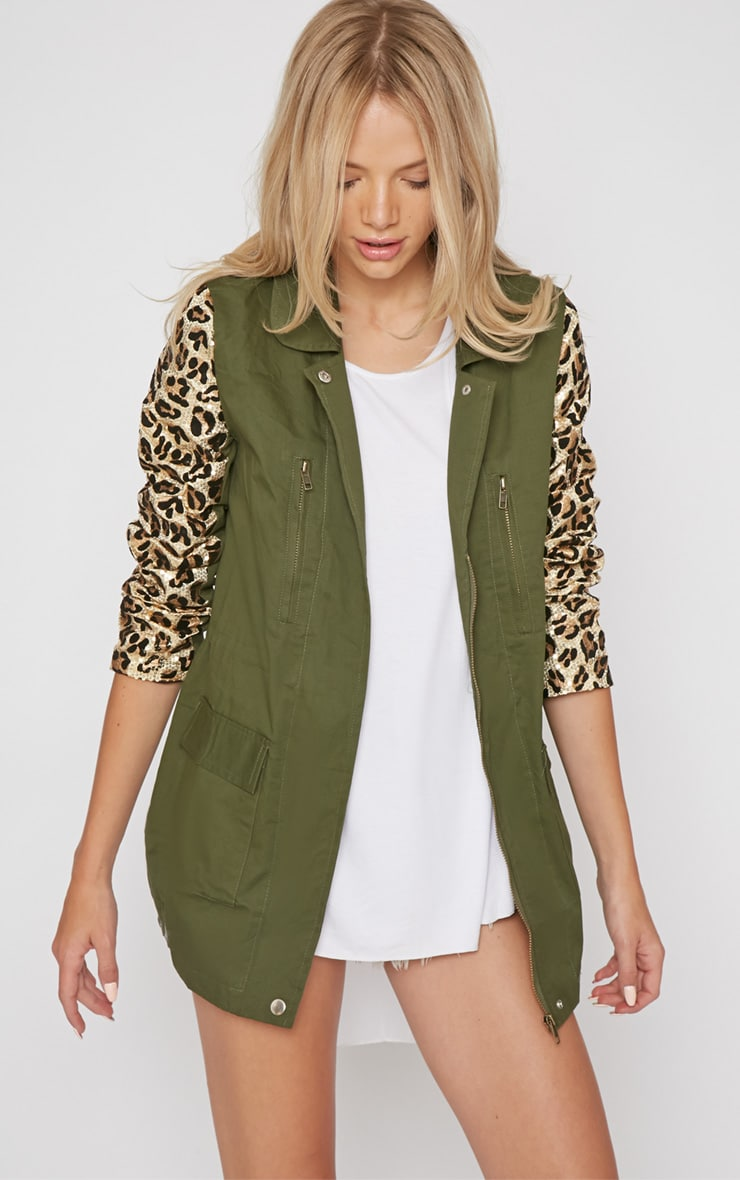 Fern Khaki & Leopard Sequin Parka Coat -XL 1