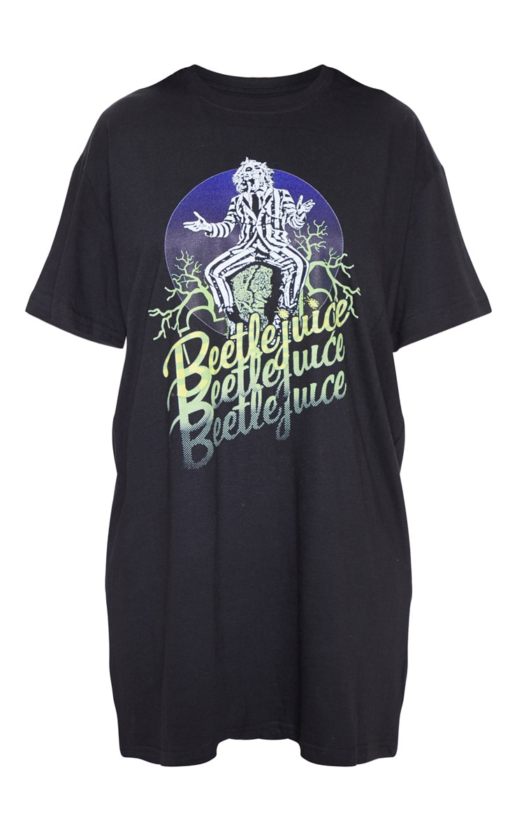 Black Beetlejuice Slogan T Shirt Dress 3