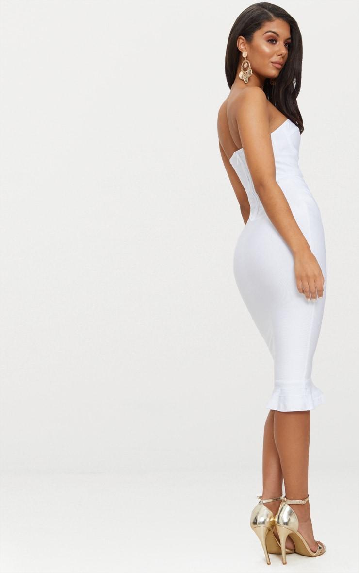 Roxina White Bandage Frill Hem Midi Dress 2
