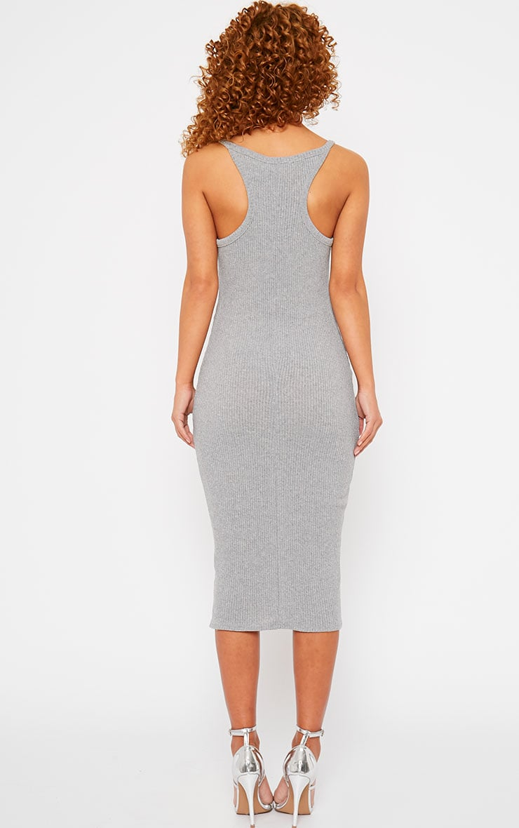 Tasmine Grey Ribbed Midi Dress 2
