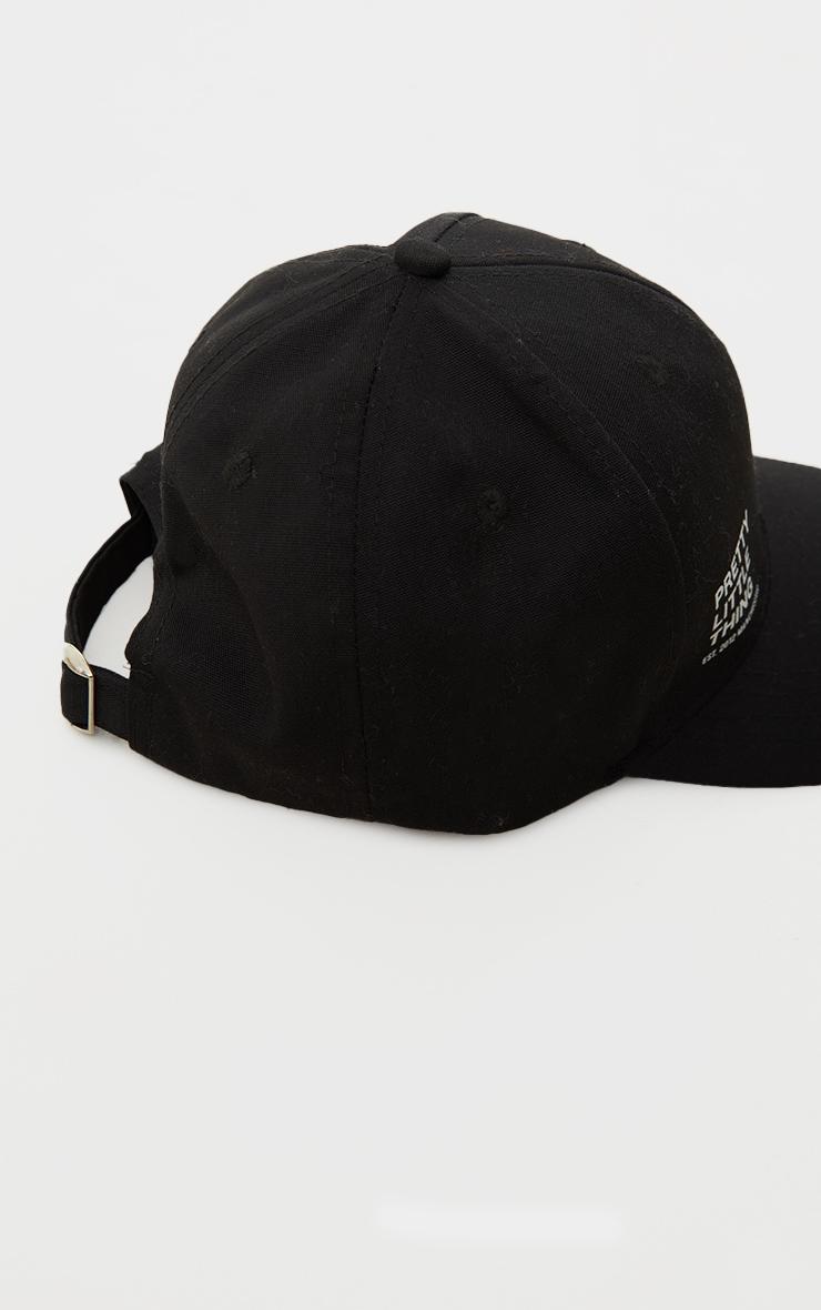 PRETTYLITTLETHING - Casquette noire à slogan 3