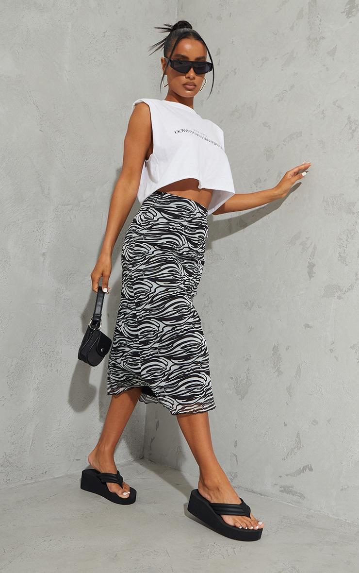 Black Zebra Mesh Midi Skirt 1