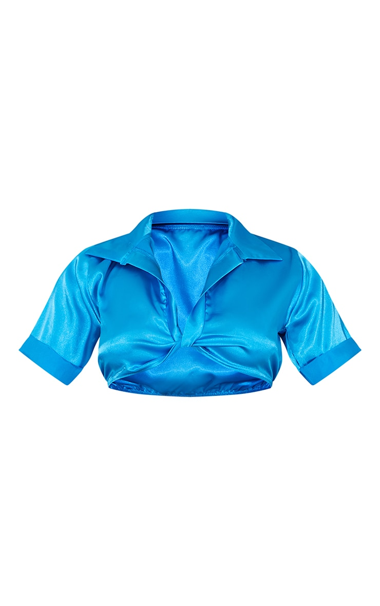 Aqua Blue Satin Short Sleeve Twist Front Cropped Shirt 5