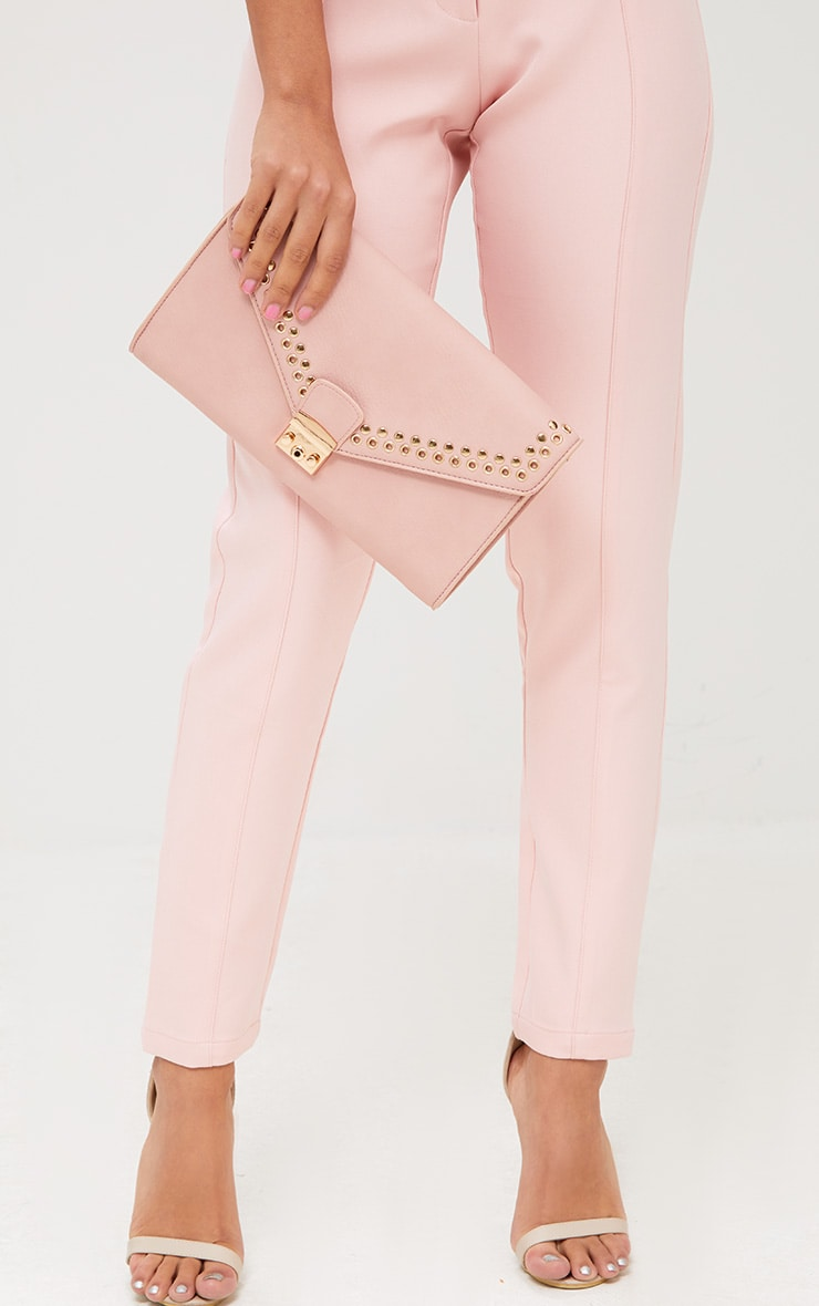 Pink Eyelet and Stud Lockable Clutch 1