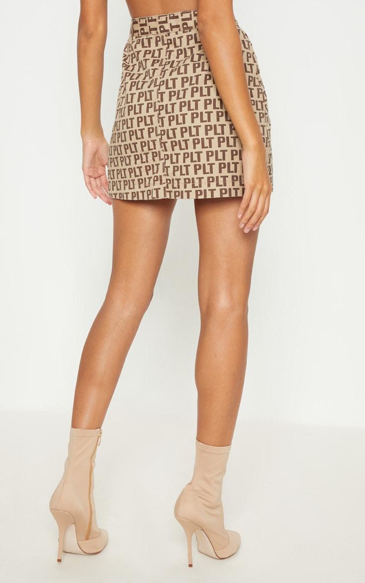 PRETTYLITTLETHING Brown Denim Skirt 4