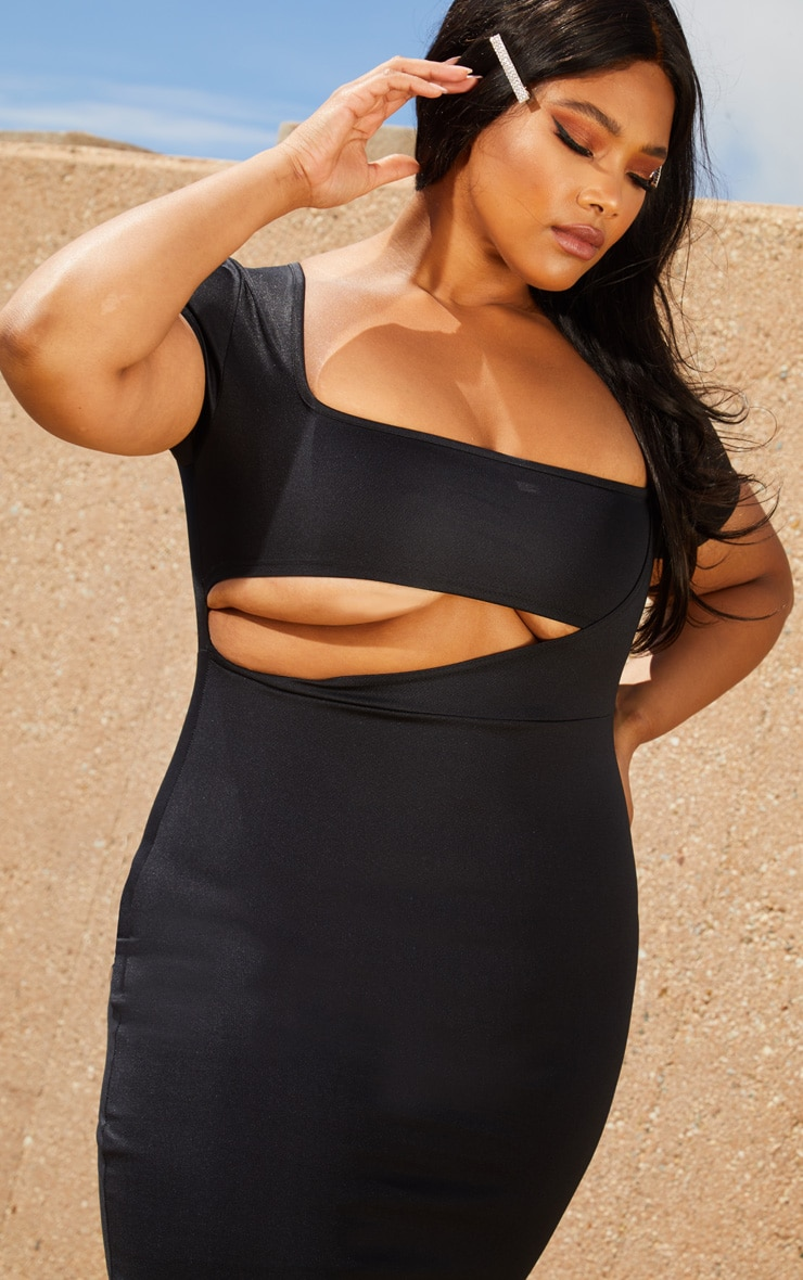 Plus Black Second Skin Square Neck Cut Out Midaxi Dress 5