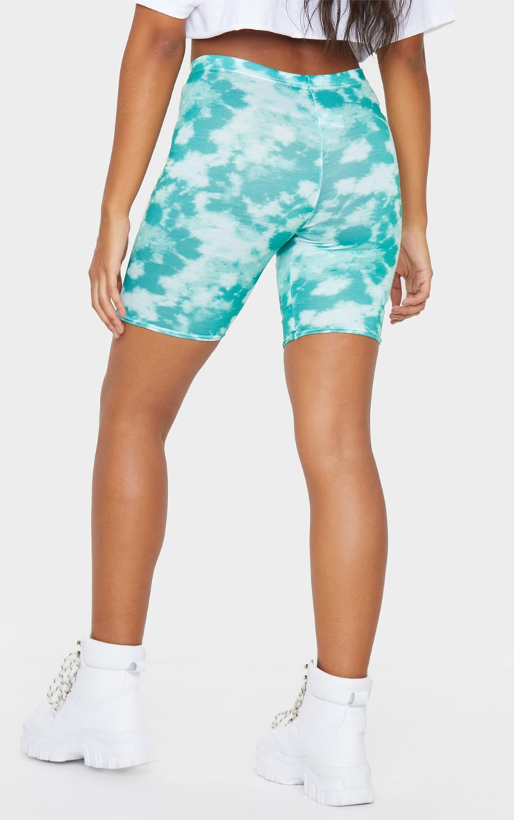 Basic Green Tie Dye Bike Shorts 3