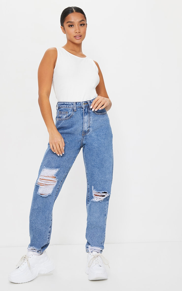 PRETTYLITTLETHING Petite Mid Blue Wash Extreme Distressed Jean 1