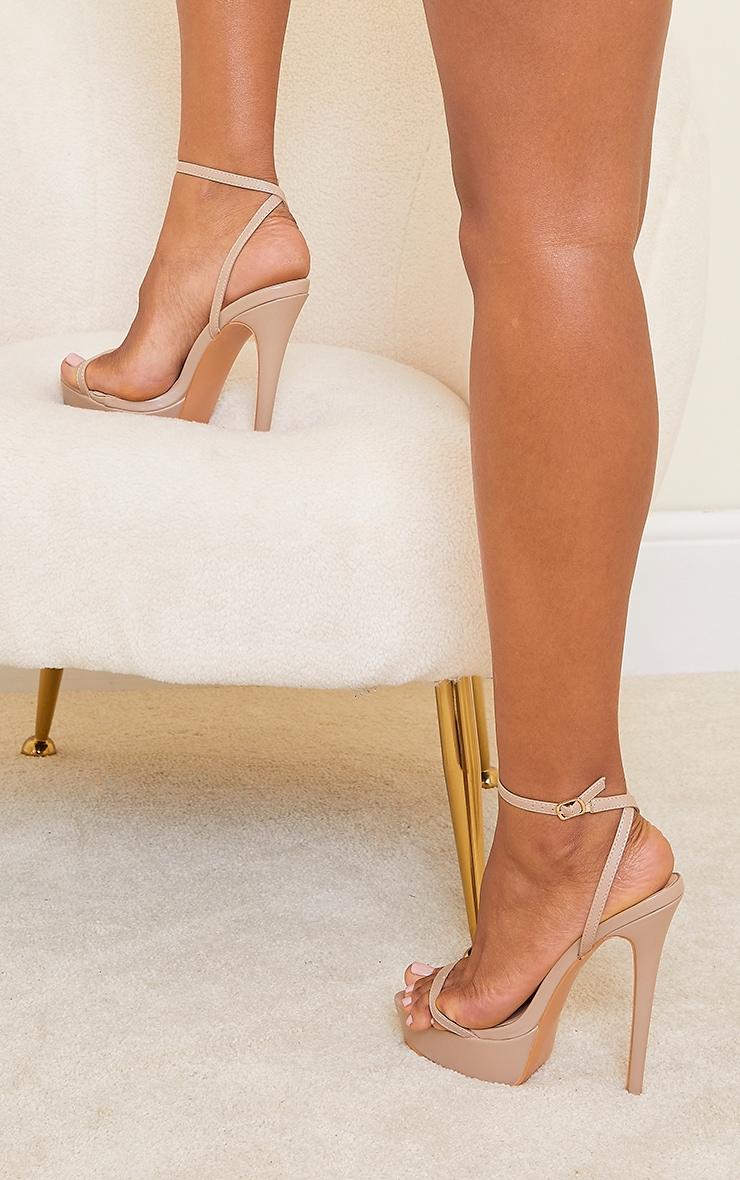 Sand PU Platform Strappy High Heels 2