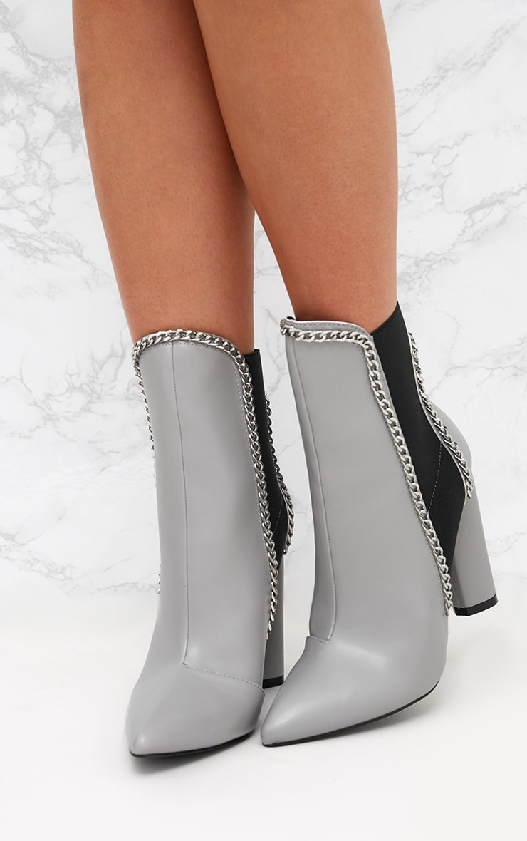 Grey Chain Trim Heeled Ankle Boots 2