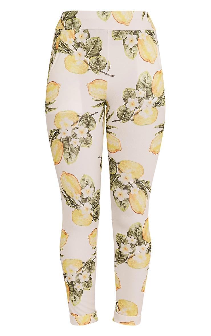 Farren White Lemon Print Cigarette Trousers 3