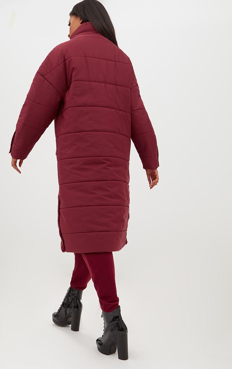 Premium Burgundy Longline Puffer Jacket 2