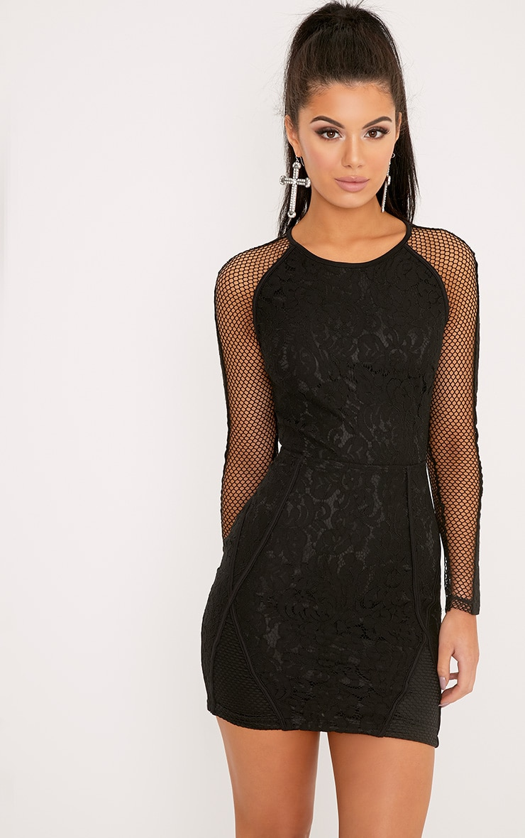 Ida Black Lace Fishnet Panel Bodycon Dress 1