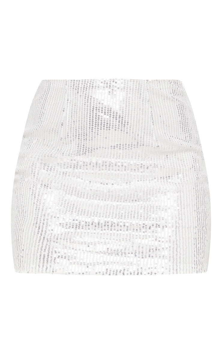 Silver Sequin Mini Skirt 4