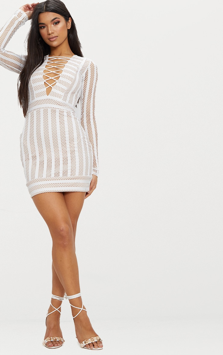 White Striped Mesh Lattice Detail Plunge Bodycon Dress 4