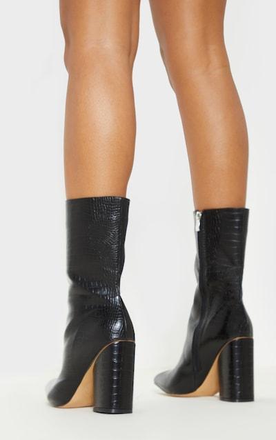 Black Croc Chunky Block Heel Point Toe Boot