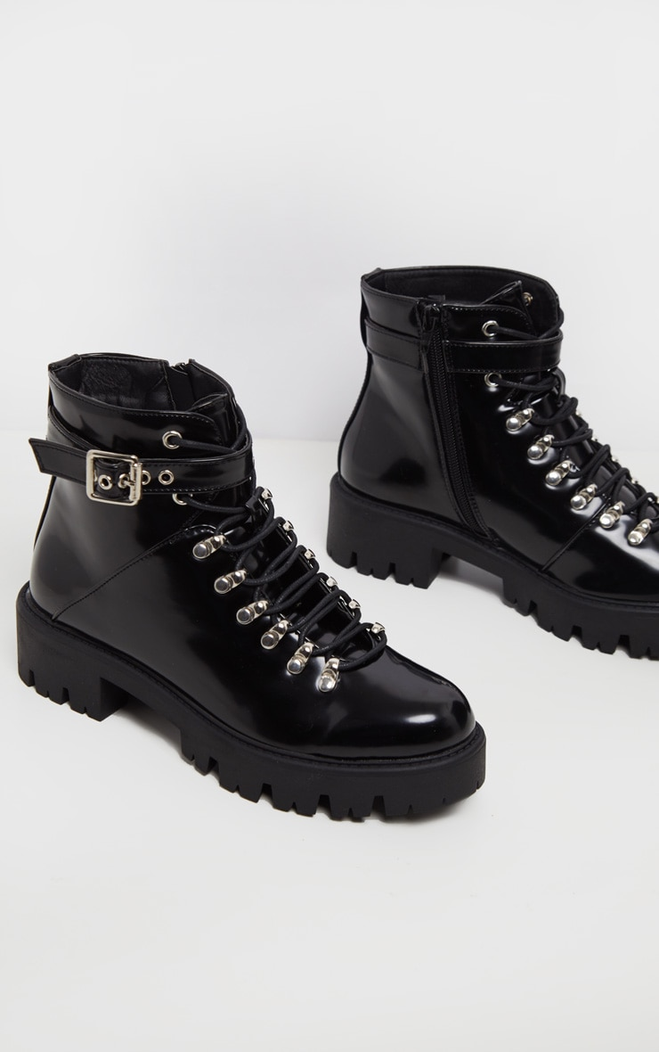 Black Hiker Lace Up Ankle Buckle Boot 3