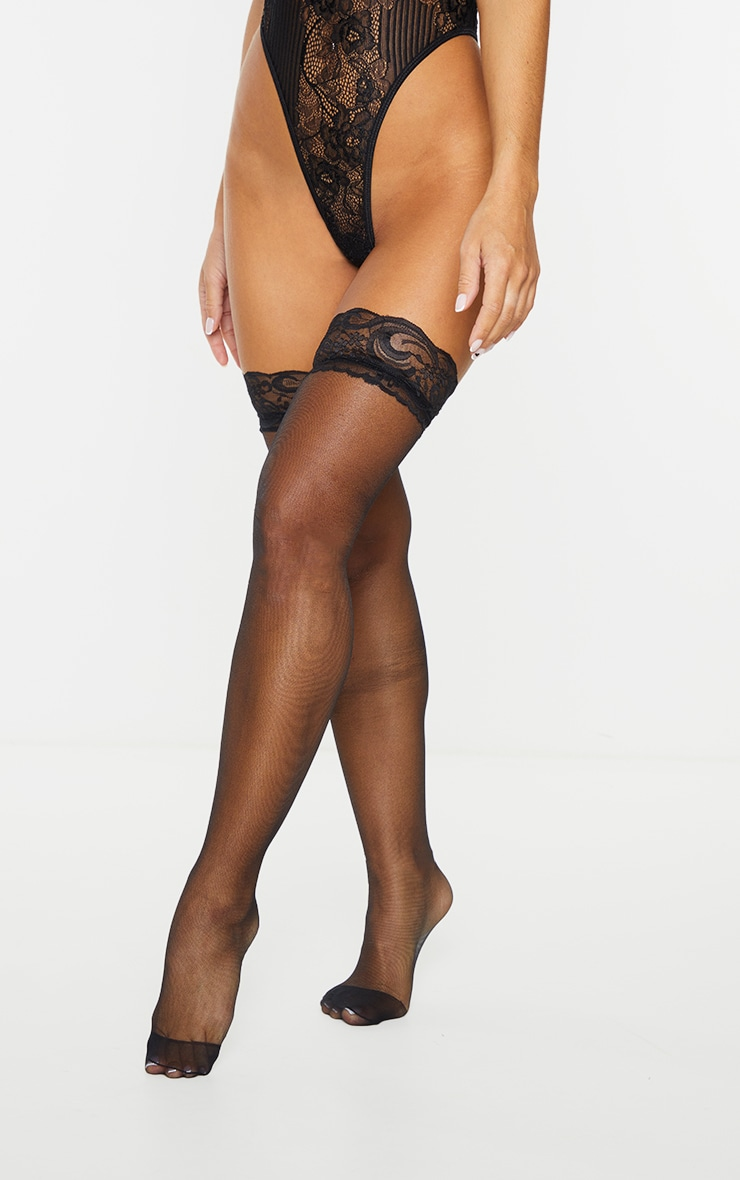 Black Lace Top Sheer Hold Up Stockings 2