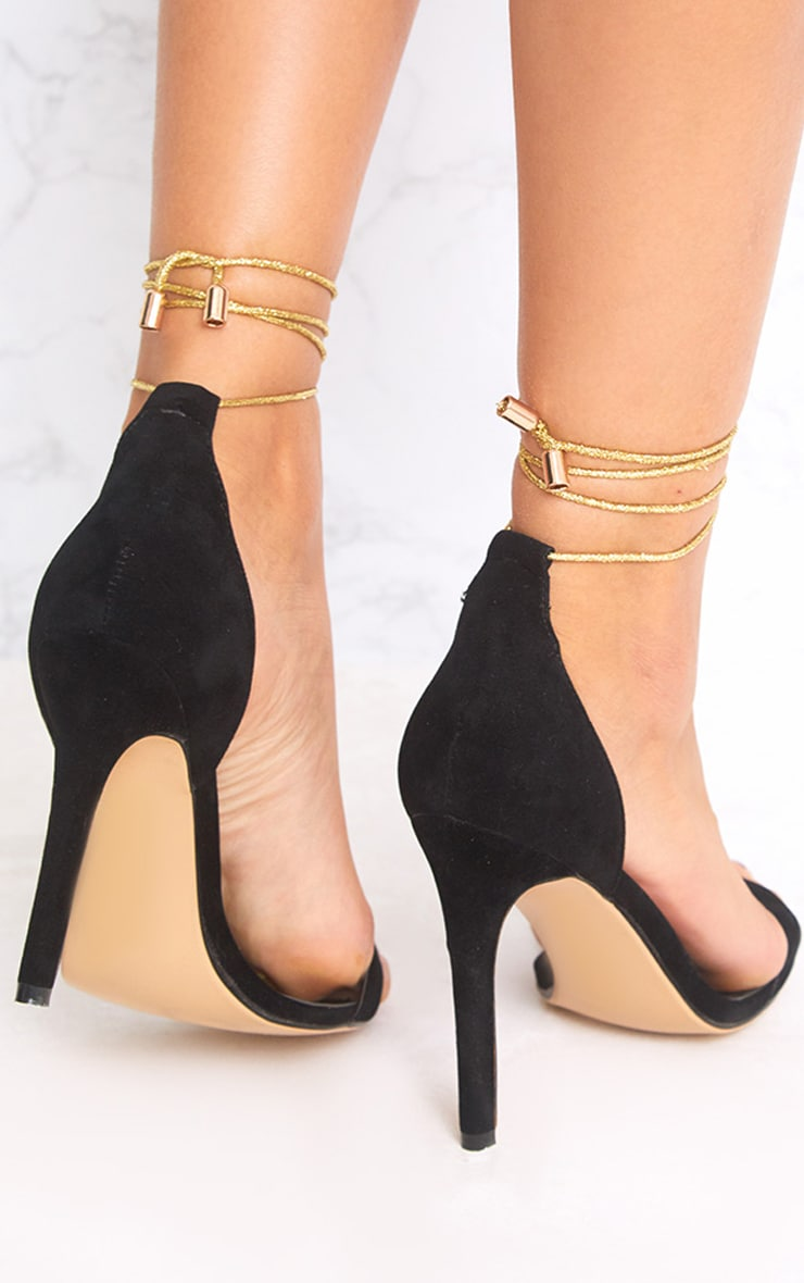 Black Knotted Strappy Heels 4