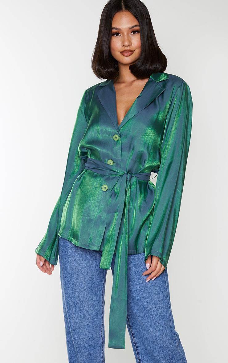 Green Metallic Tie Front Collared Long Sleeve Shirt 1