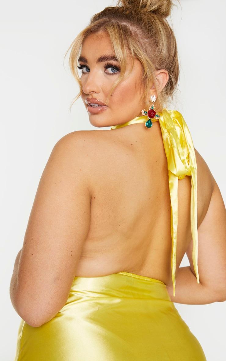 Plus Bright Yellow Satin Halterneck Maxi Dress 4