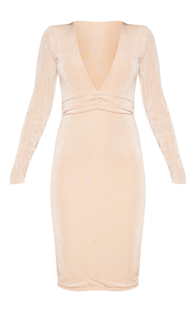 Champagne Textured Slinky Drape Sleeve Plunge Midi Dress 4