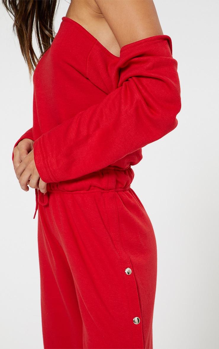 Red Loop Back Off the Shoulder Popper Leg Jumpsuit 4