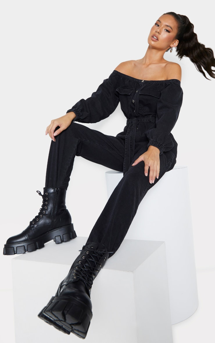 Washed Black Bardot Button Through Denim Jogger Jumpsuit 3