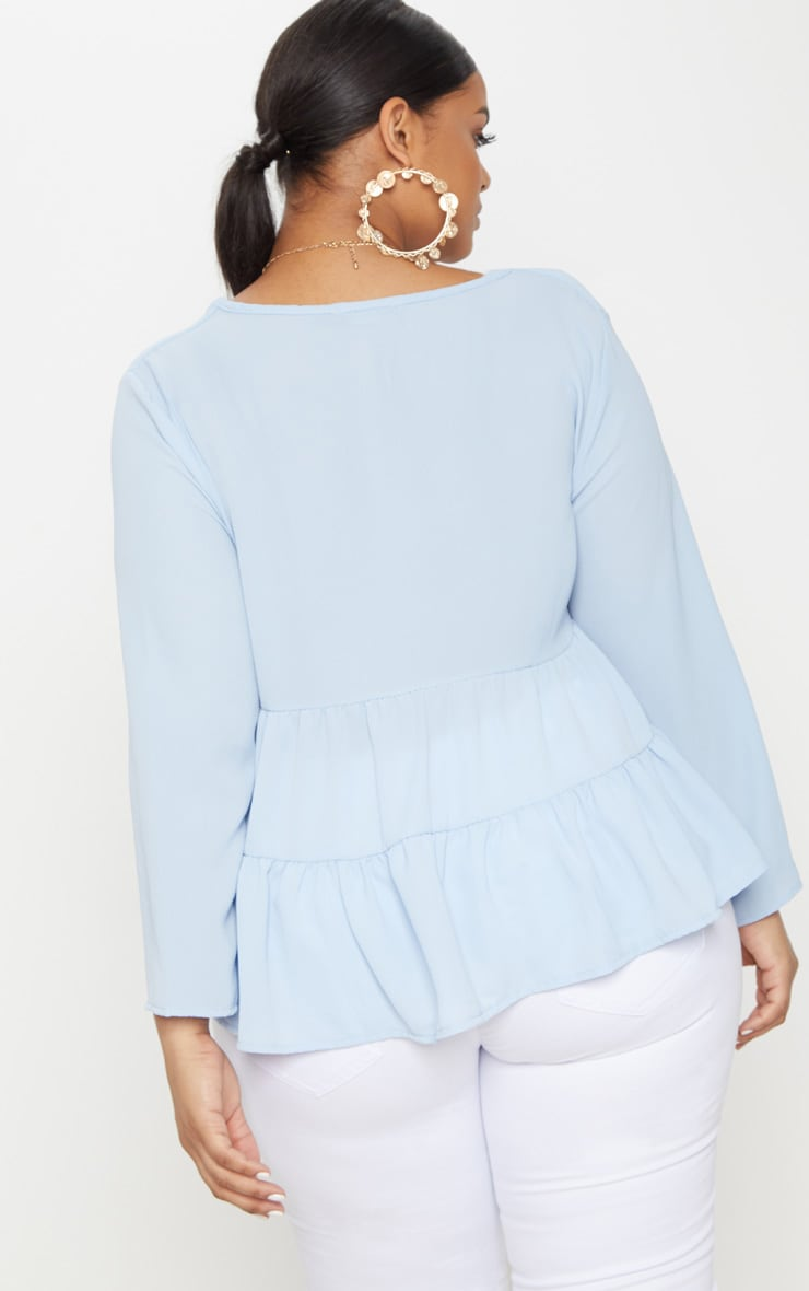 Plus Baby Blue Plunge Tiered Shirt 2