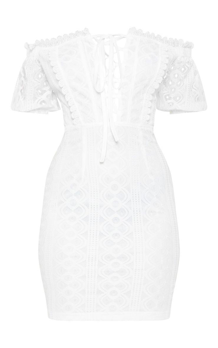 Petite White Bardot Lace Detail Bodycon Dress 3