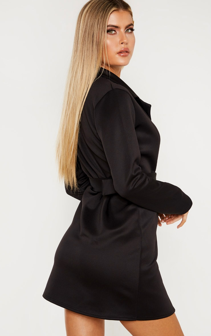 Tall Black Tailored Belt Detail Blazer Dress 2