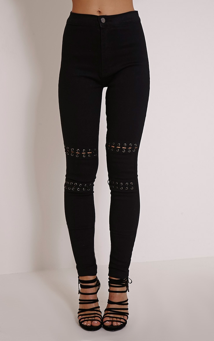 Palmira Black Lace Up Knee Skinny Jean 2