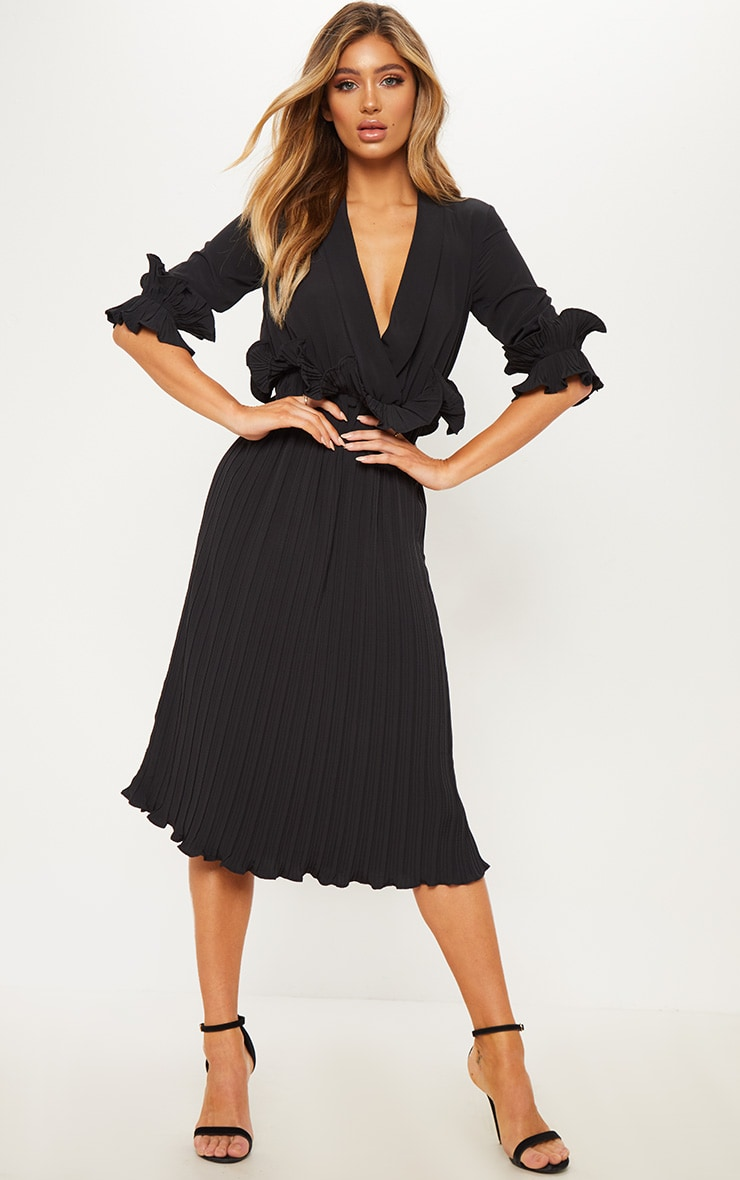 Black Frill Detail Pleated Midi Dress 1