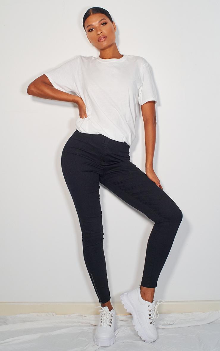 Black Stretch Denim Zip Hem Skinny Jeans 1