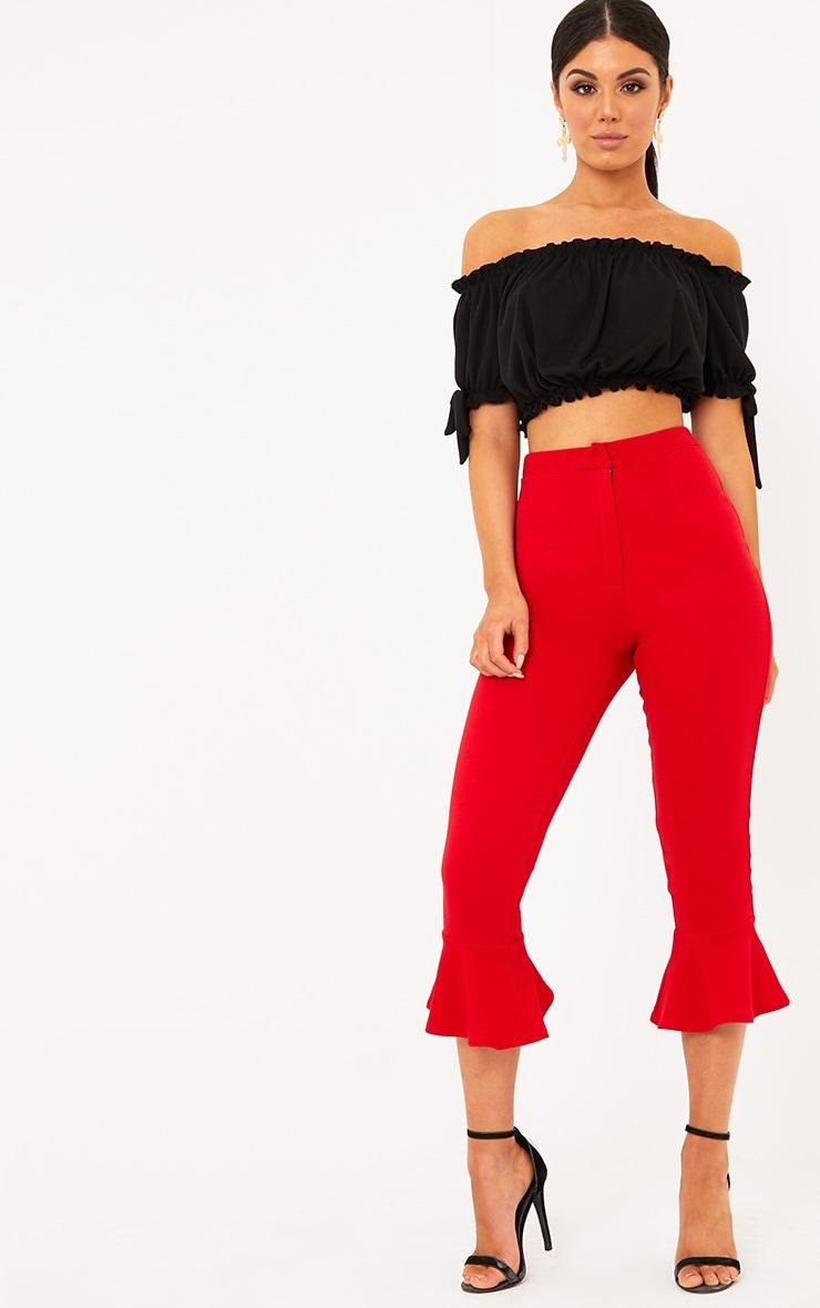 Norah Black Bardot Bow Sleeve Jersey Crop Top 4