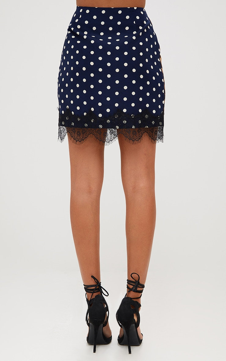 Navy Mix Print Lace Trim Mini Skirt 4