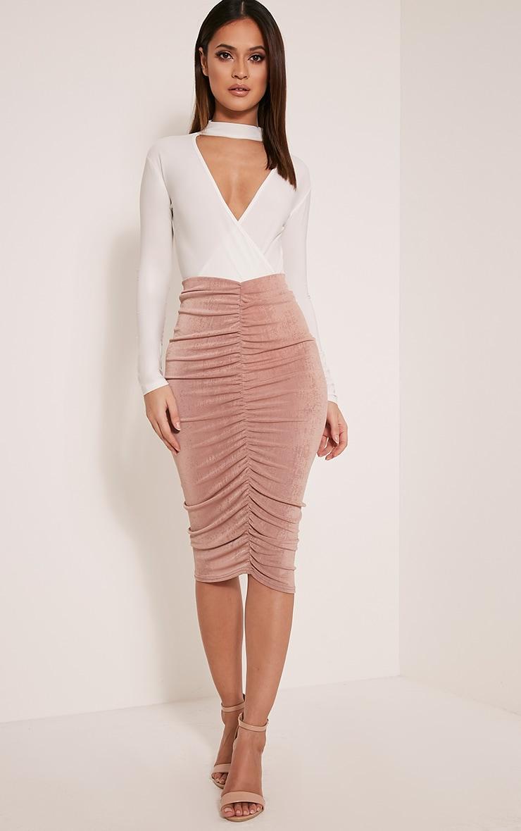 Remmie Blush Ruched Midi Skirt 1