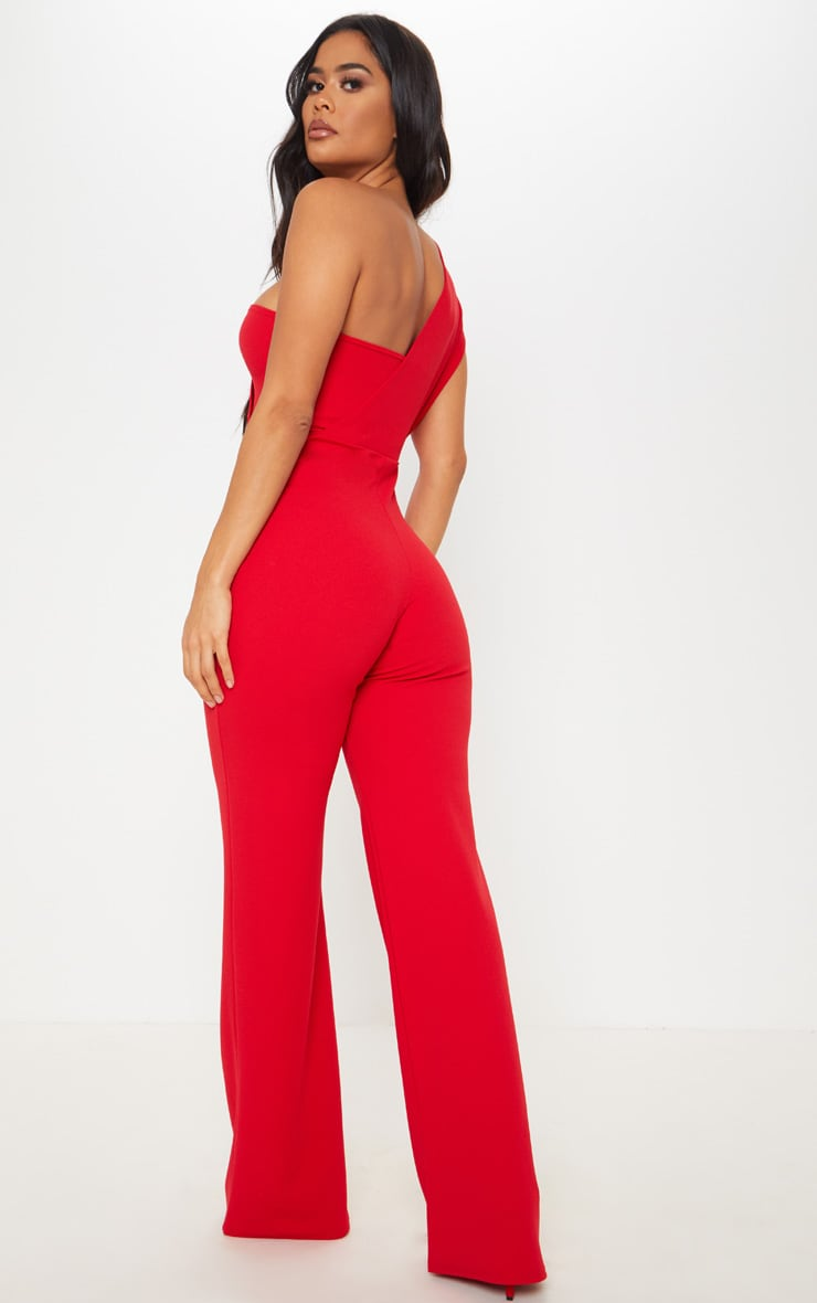 Red Drape One Shoulder Jumpsuit 2