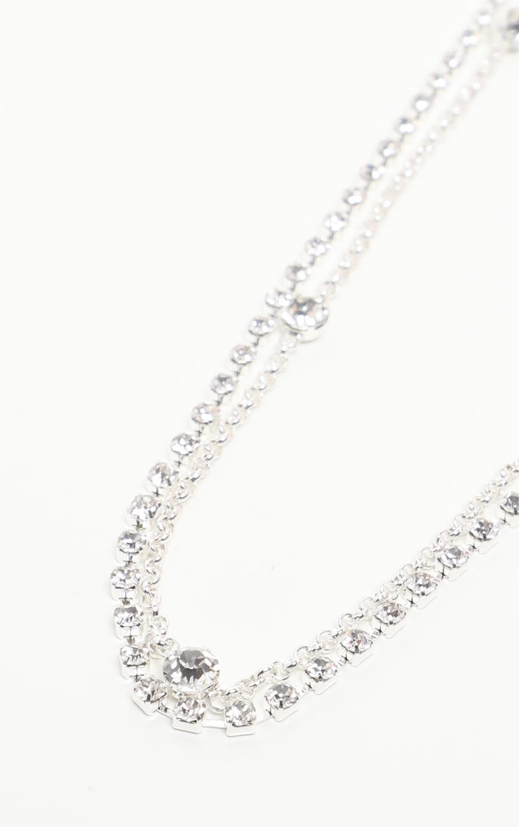 Silver Long Diamante Belly Chain 3