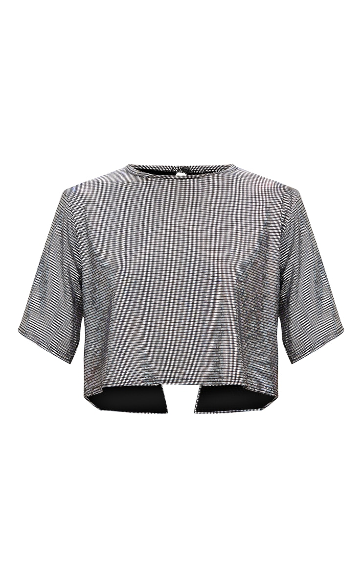Silver Disco Metallic Open Back T Shirt 3