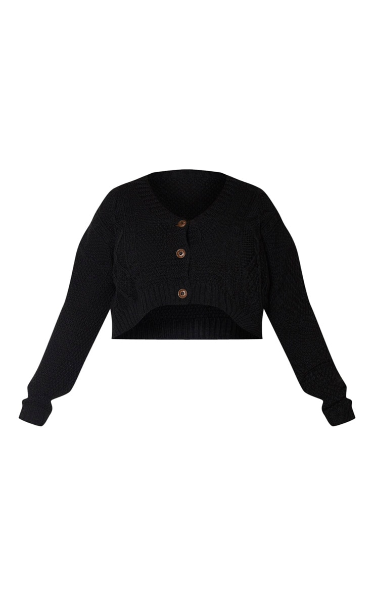 Plus Black Cable Cropped Cardigan 5