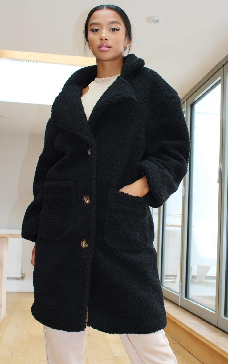 Petite Black Borg Longline Coat 3