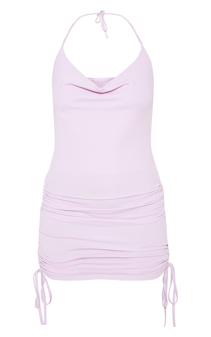 Lilac Ribbed Halterneck Cowl Ruched Bodycon Dress 3