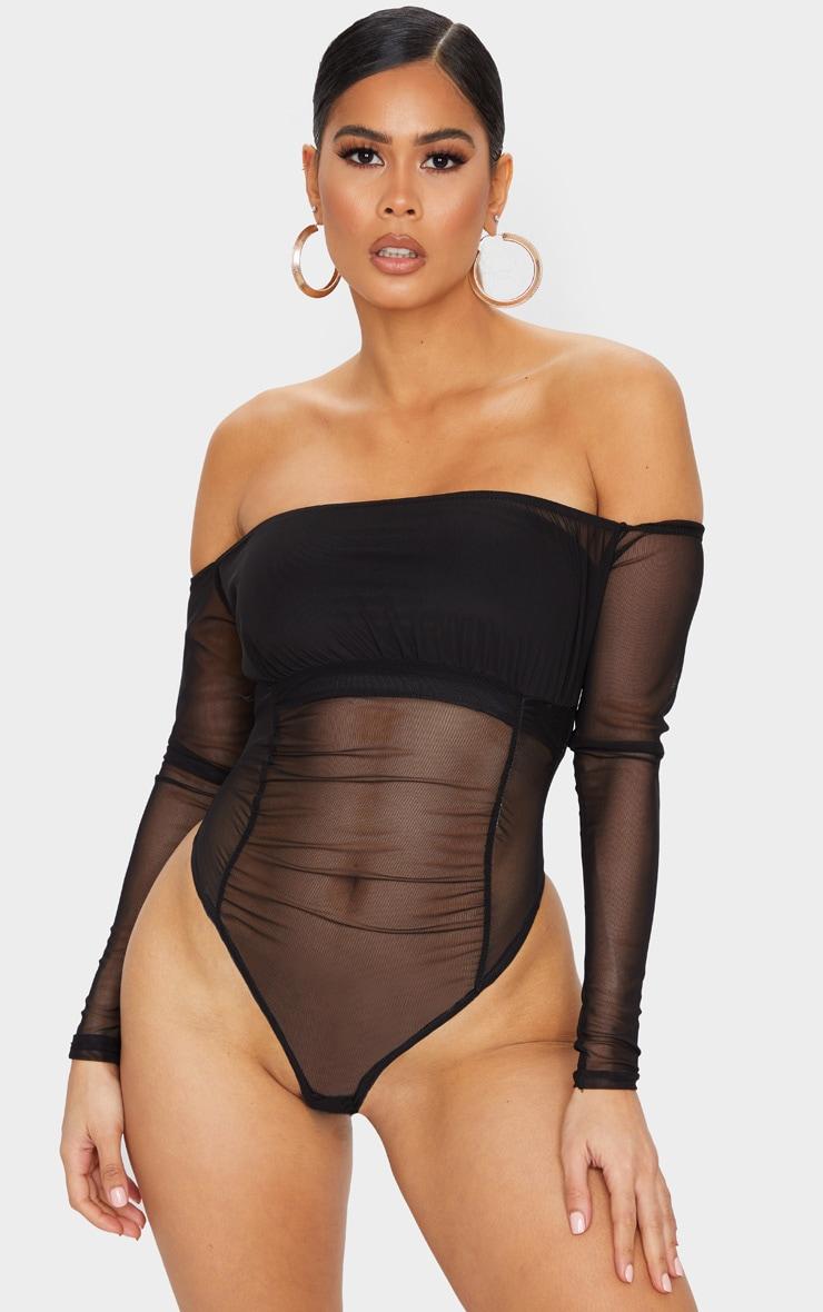 Black Sheer Gathered Bardot Bodysuit 2