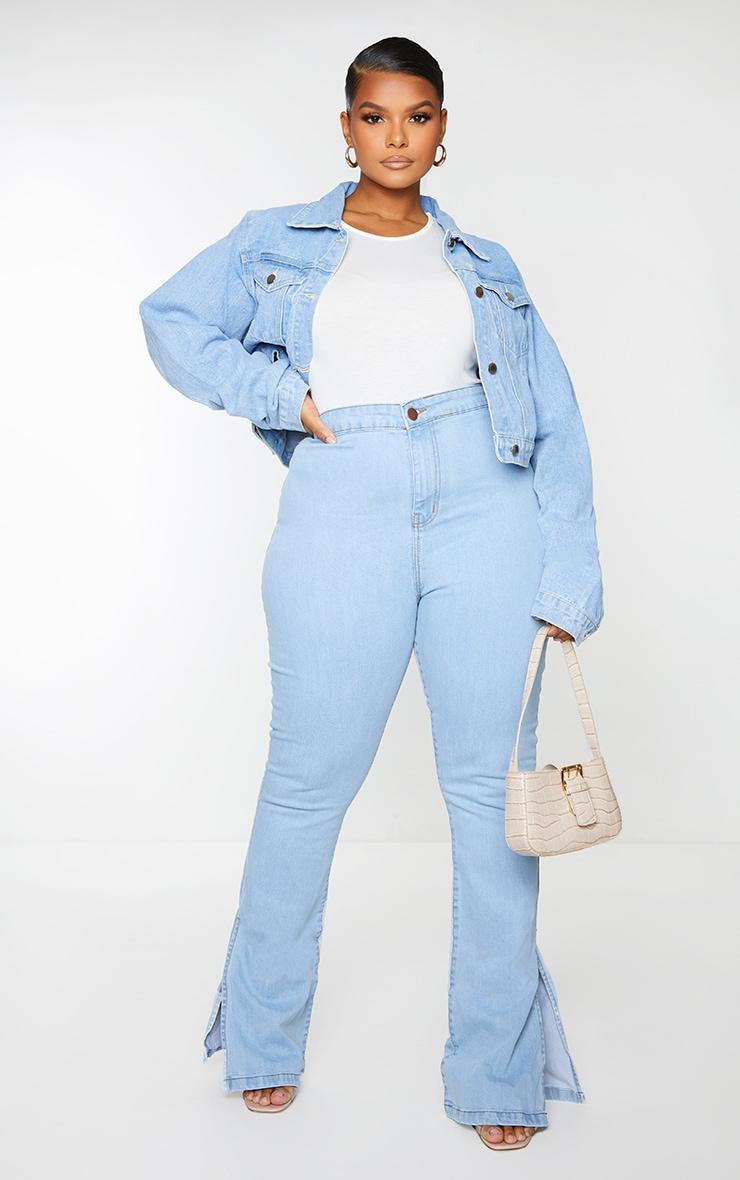 PRETTYLITTLETHING Plus Light Blue Wash Cropped Denim Jacket 1
