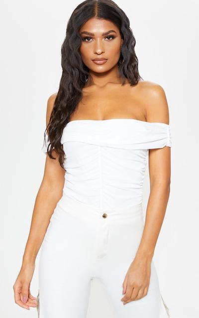 d80a8ac5c2a65 White Mesh Bardot Ruched Bodysuit