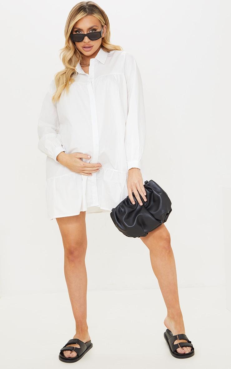 Maternity White Oversized Long Sleeve Smock Dress 3