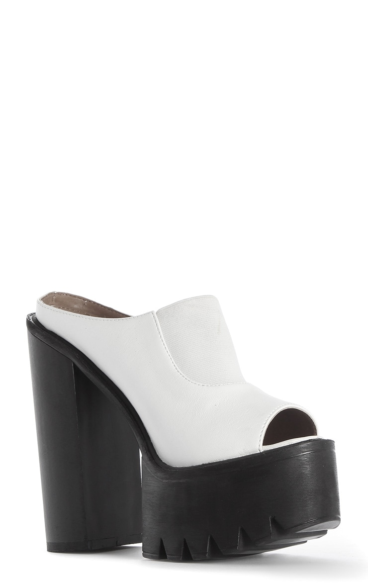 Yamelia White Open Toe Mule Sandals 3