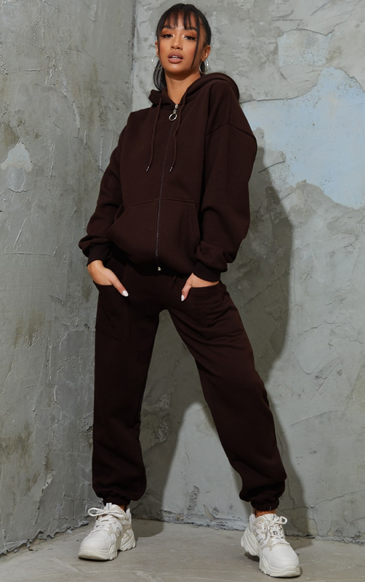 Petite Chocolate Brown Pocket Thigh Casual Joggers image 1