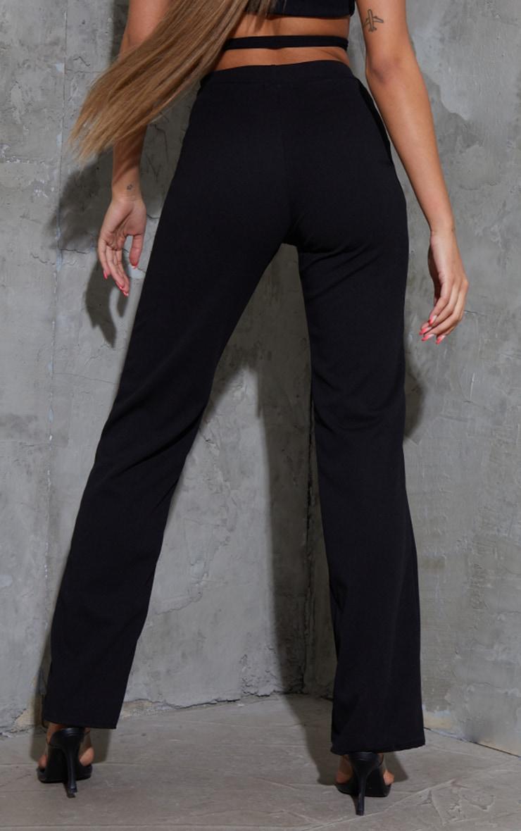 Black Tie Waist Straight Leg Trousers 3